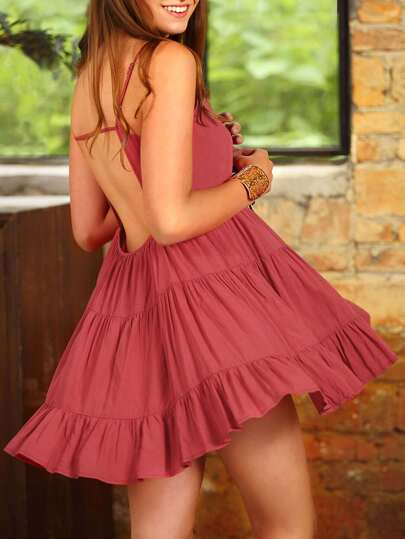 Watermelon Red Spagettic Strap Backless Ruffle Dress