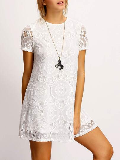 Crew Neck Sheer Floral Lace Dress