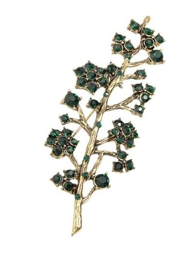 Elegant Green Rhinestone Brooch