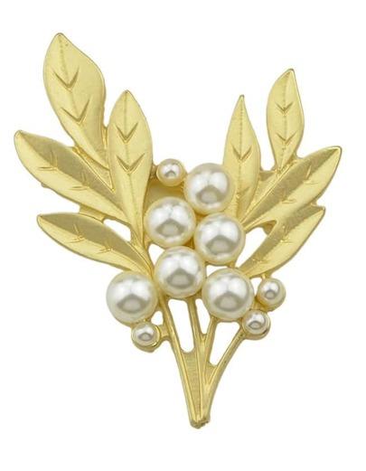 Gold Leaf Shape Pearl Brooch