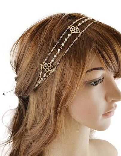 Gold Chain Ribbon Pearl Hairwear