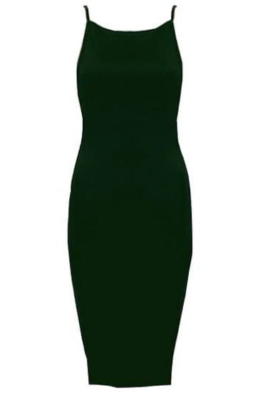 Green Spaghetti Strap Backless Bodycon Dress