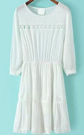 With Lace Crochet Hollow Pleated Dress