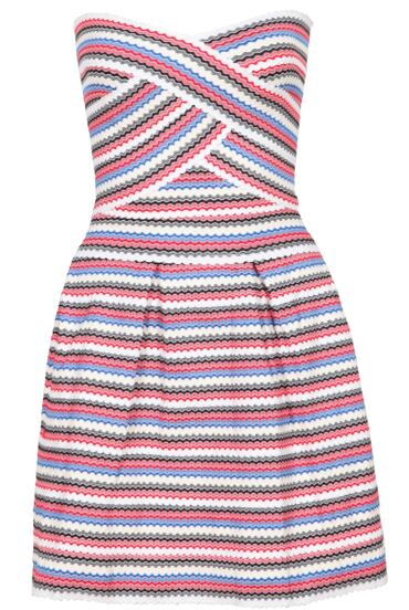 Strapless Striped Flare Dress