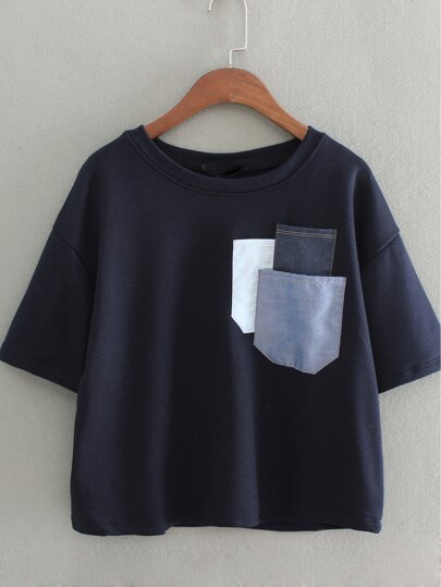 Dark Blue Short Sleeve Pockets Casual T-shirt