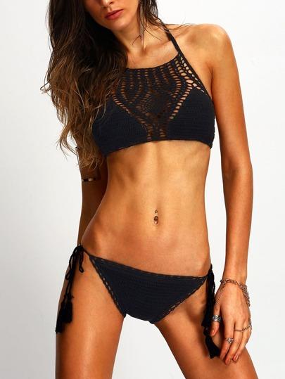 Halter Hollow Out Crochet Black Bikini Set