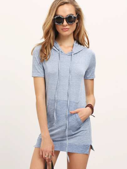 Short Sleeve Pullover Hoodie Dress