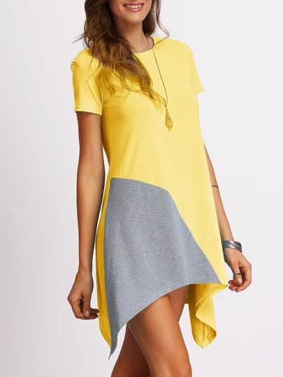 Color Block Assymetrical T-shirt Dress