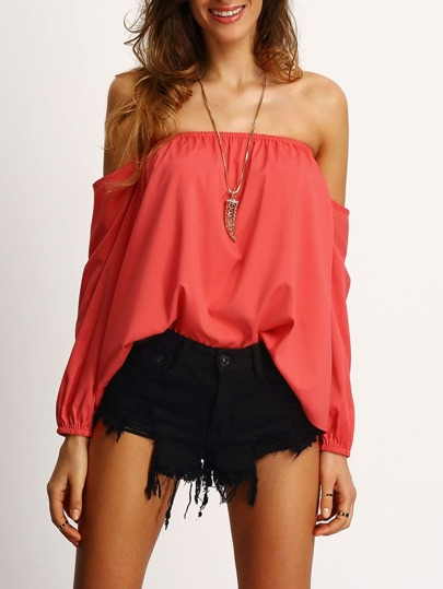 Red Off The Shoulder Long SLeeve Blouse