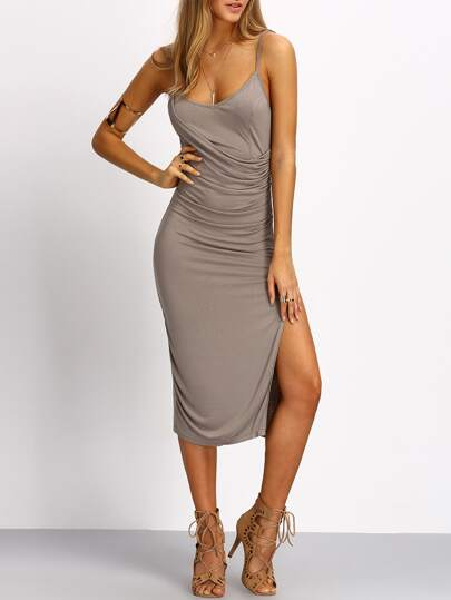 Grey Spagettic Strap Ruched Split Sheath Dress