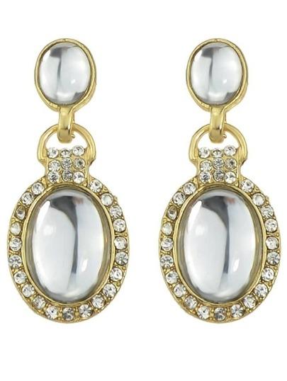 White Rhinestone Drop Dangle Earrings