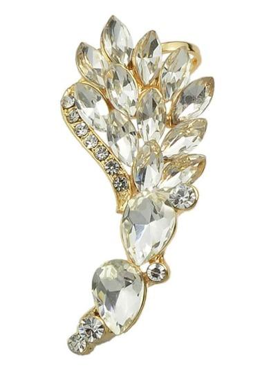 Gold Rhinestone Flower Cuff Earring