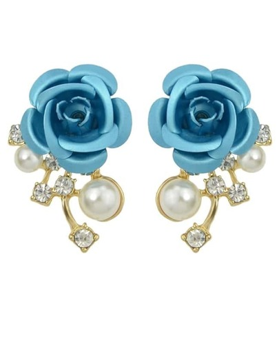 Pearl Blue Flower Stud Earrings