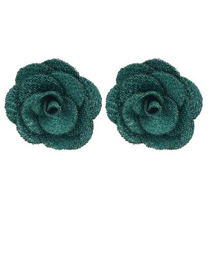 clou d'oreille motif fleur -vert