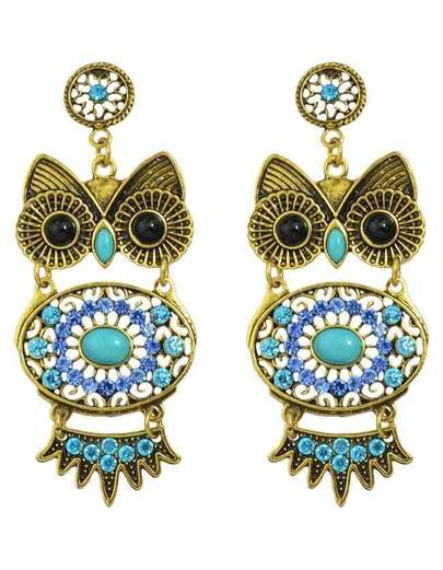 Blue Rhinestone Owl Shaped Earrings