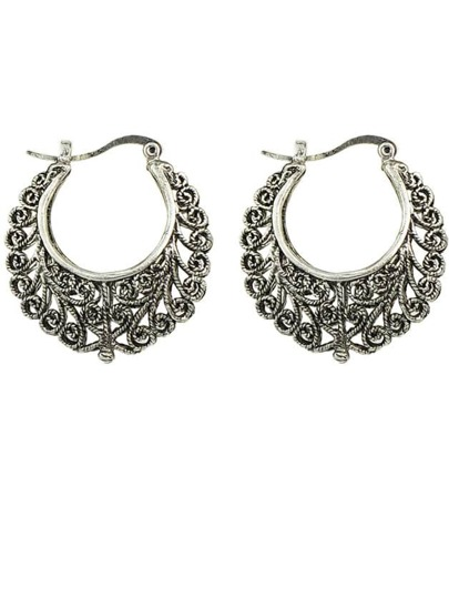 Silver Plated Rhinestone Hoop Earrings