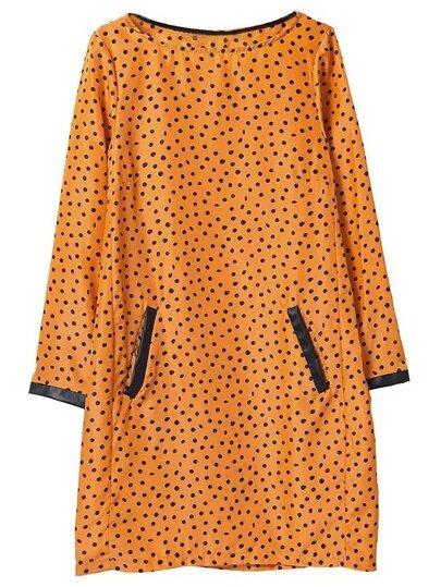 Orange Pockets Polka Dot Print Shift Dress