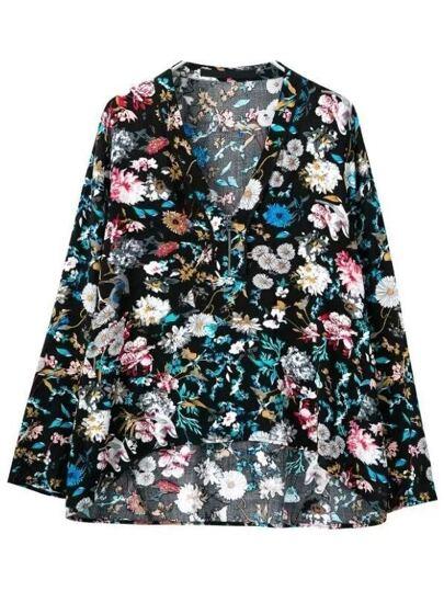 Multicolor Zipper Front Print Loose Blouse