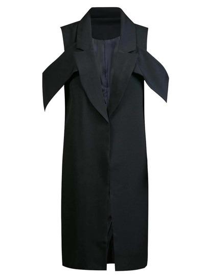 Black Lapel Long Design Vest
