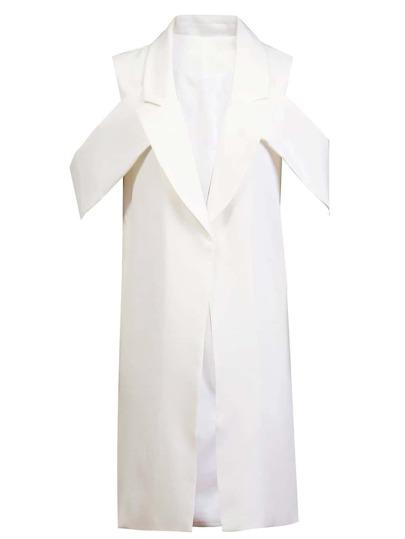 White Lapel Long Design Vest