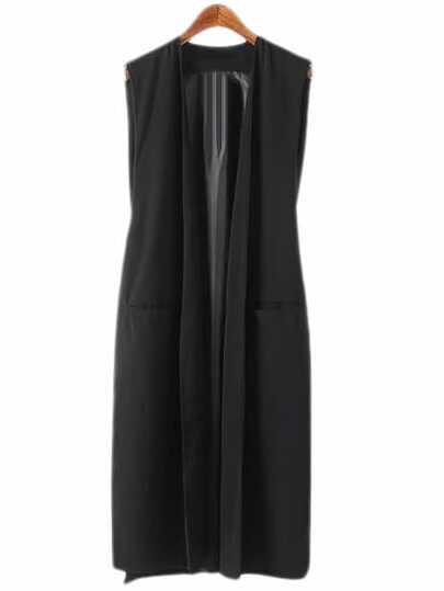 Black Pockets Long Design Vest