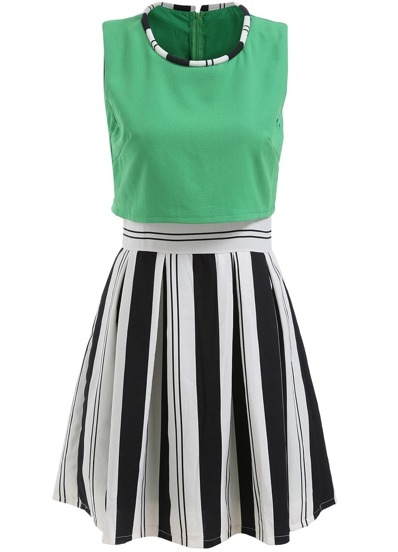 Color-block Vertical Striped A-Line Dress