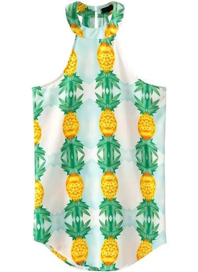 Halter Pineapple Print Dress