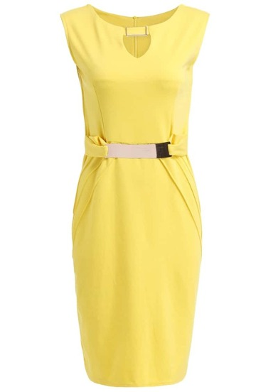 Sleeveless With Belt Slim Dress