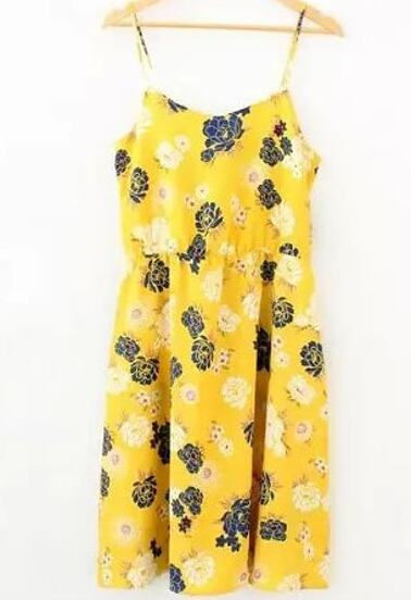 Spaghetti Strap Florals Bohemian Style Dress