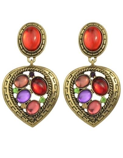 Colorful Gemstone Heart Earrings