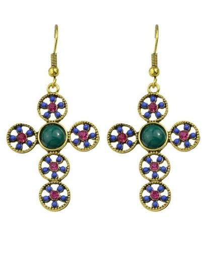Blue Cross Shape Beads Earrings