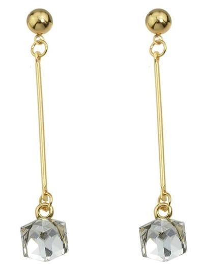 White Crystal Long Earrings