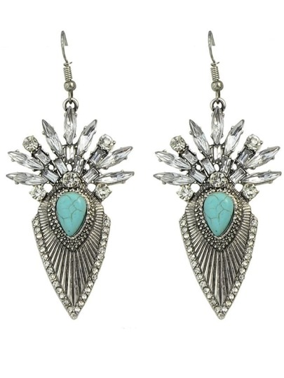 Silver Plated Rhinestone Stud Earrings