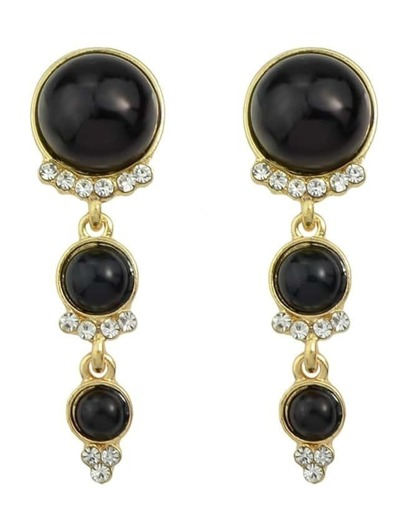 Black Long Hanging Pearl Earrings