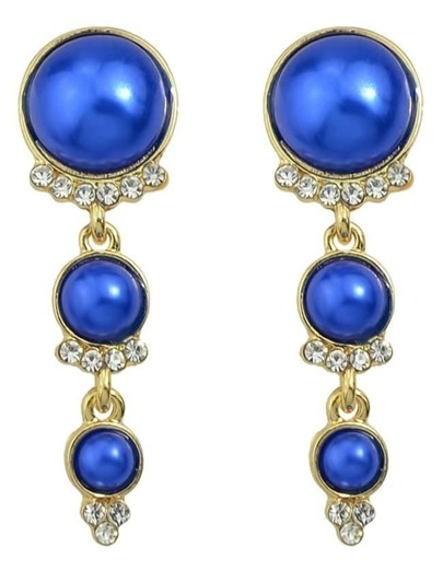 Blue Long Hanging Pearl Earrings