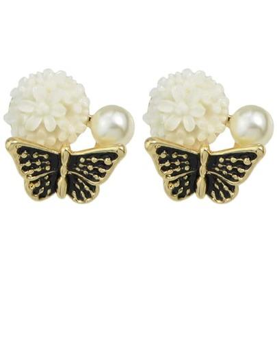 Black Flower Shaped Stud Earrings