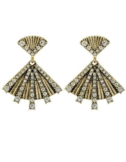 Rhinestone Fan Shape Stud Earrings
