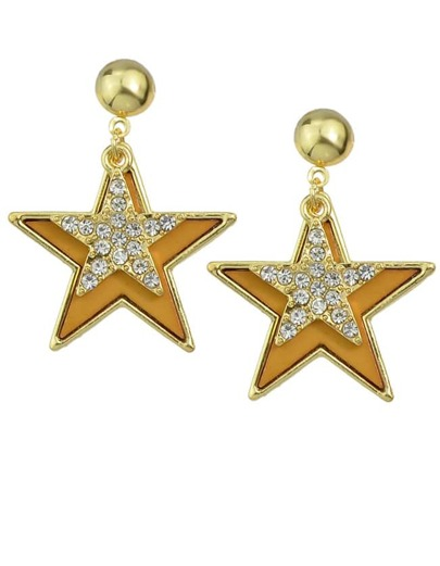Yellow Enamel Star Stud Earrings