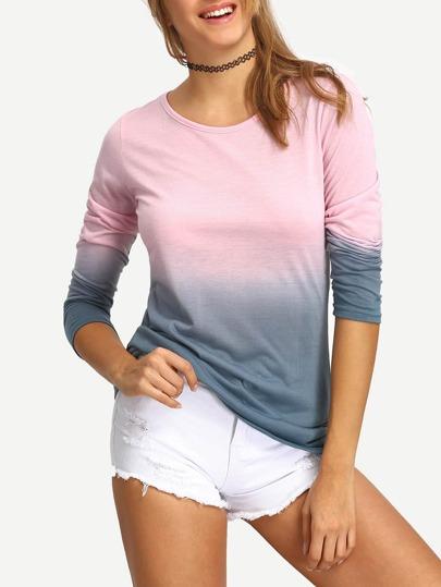 Langarm T-Shirt Rundhals mit Farbverlauf -rosa und grau