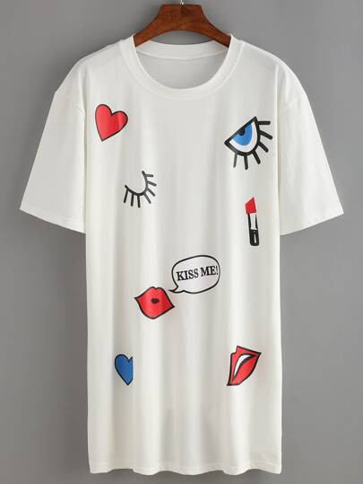 Eye&Lips Print T-shirt Dress