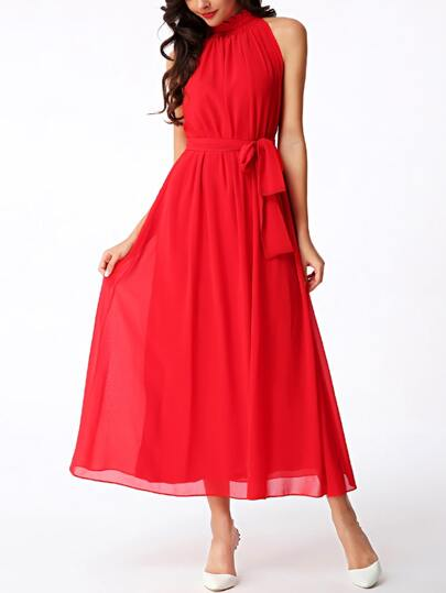 Ruffled Mock Neck Self-tie Chiffon Dress