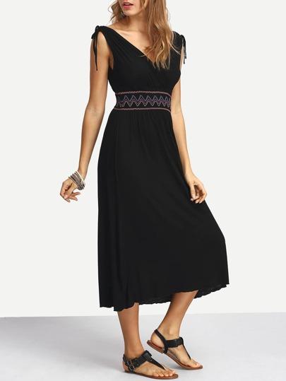 Embroidered High Waist Shoulder Tie Dress