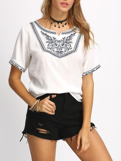 Flower Embroidered Peasant Blouse