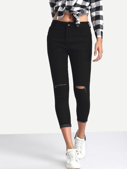Knee Ripped Rolled Hem 3/4 Length Skinny Jeans