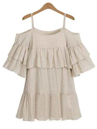 Open Shoulder Ruffled Tiered Dress