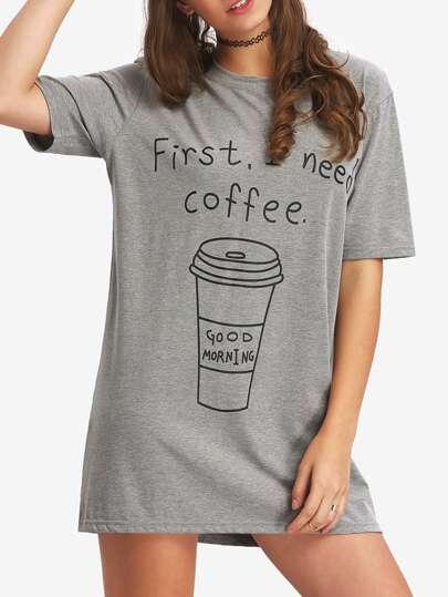 Coffee Print Mini T-shirt Dress