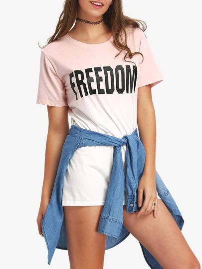 Ombre Letter Print Mini T-shirt Dress