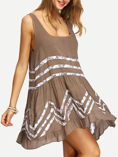 Coffee Contrast Lace Polka Dot Ruffle Dress
