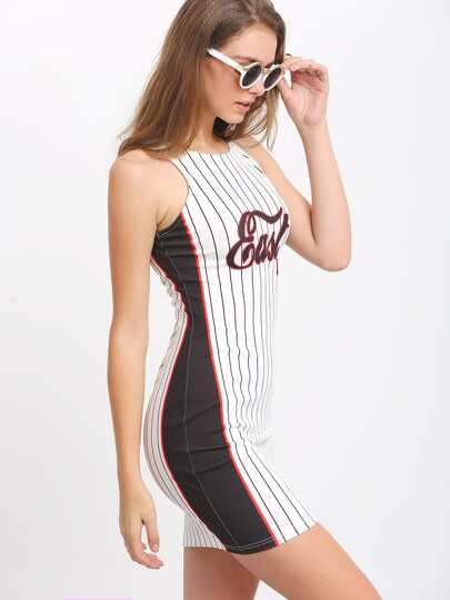 Vertical Line Black Side Sleeveless Bodycon Dress