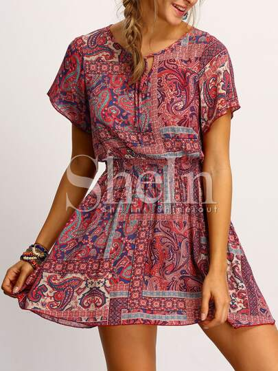 Multicolor Print Elasticated Waist Tie-neck Dress
